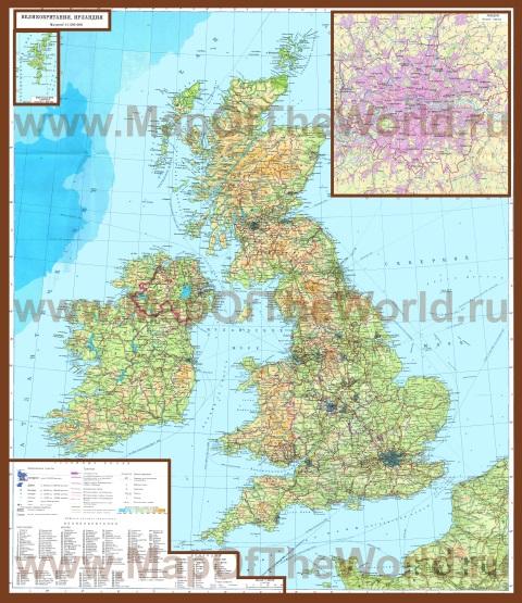 Подробная карта Великобритании на русском языке