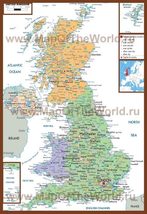 Политическая карта Великобритании с городами