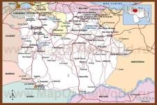 Подробная карта штата Гуарико