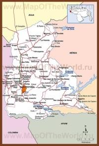 Подробная карта штата Тачира