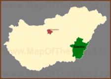 Бекеш на карте Венгрии