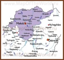 Подробная карта медье Боршод-Абауй-Земплен