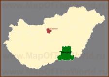Чонград на карте Венгрии