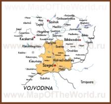 Подробная карта медье Чонград
