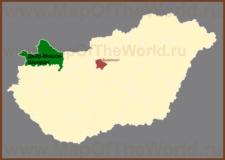 Дьёр-Мошон-Шопрон на карте Венгрии