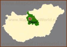 Пешт на карте Венгрии
