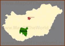 Тольна на карте Венгрии