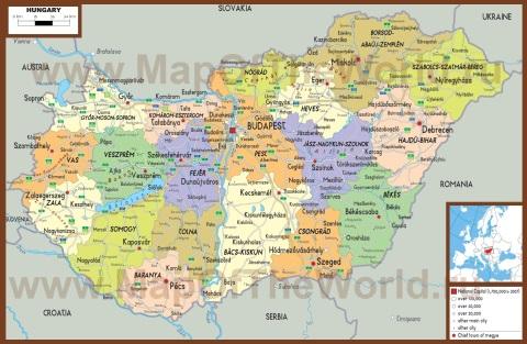 Подробная политическая карта Венгрии