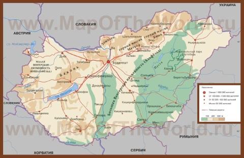 Туристическая карта Венгрии на русском языке