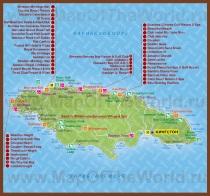 Туристическая карта Ямайки с курортами и отелями