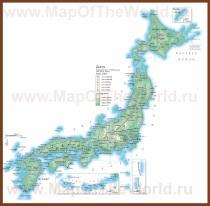 Подробная карта Японии с городами