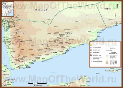 Подробная карта Йемена