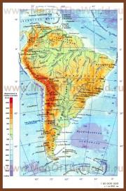 Физическая карта Южной Америки