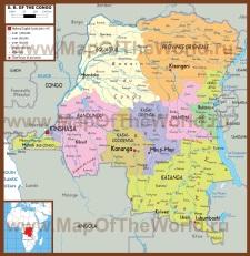 Подробная политическая карта Демократической Республики Конго (Заир)