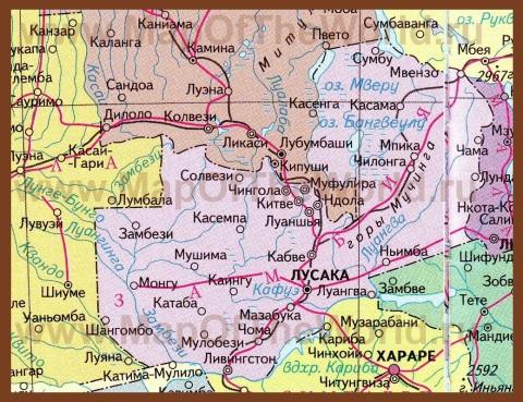 Карта Замбии на русском языке