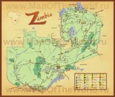 Подробная туристическая карта Замбии