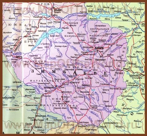 Карта Зимбабве на русском языке