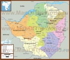 Подробная политическая карта Зимбабве